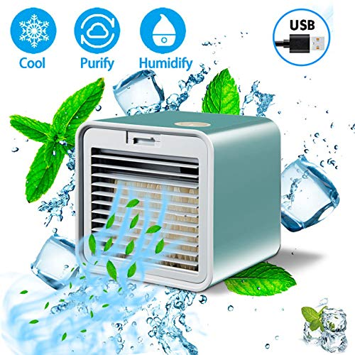 Air Cooler, USB Portable Cooling Air Conditioner, 3 in 1 Mini Mobile Personal Space Cool Air Ultra, luchtbevochtiger, luchtreiniger, desktop koelventilator voor kantoor